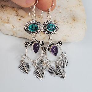 Silver Dangling Earrings Amethyst Stone